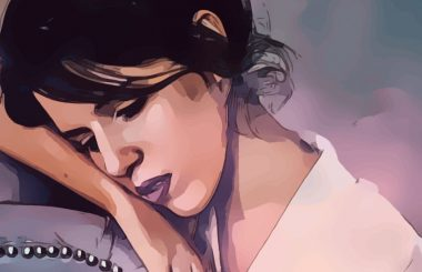 painting of a sad woman